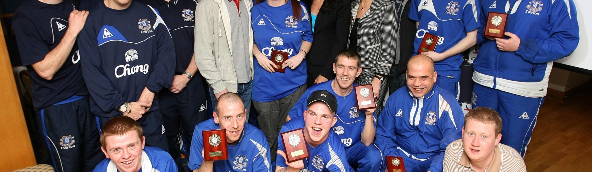Everton's Tony Hibbert presents awards at Goodison Park