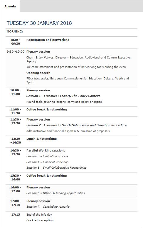 Agenda Info Day