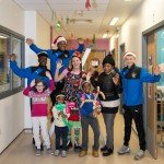 The Glasgow Children's Hospital Charity Christmas decorating day at The Royal Hospital for Children Glasgow with decorations funded by Rangers Charlity foundation. Picture shows back row L to R: Rangers U17 players John Balde, Dapo Mebude, Tickles the Clown, Biola Adosun & Nathan Patterson. Front row: Katie Milliken (10, from Clarkston), Susan Adosun (4, from Glasgow) with her sister Sandra Adosun (8) in Ward 2B.