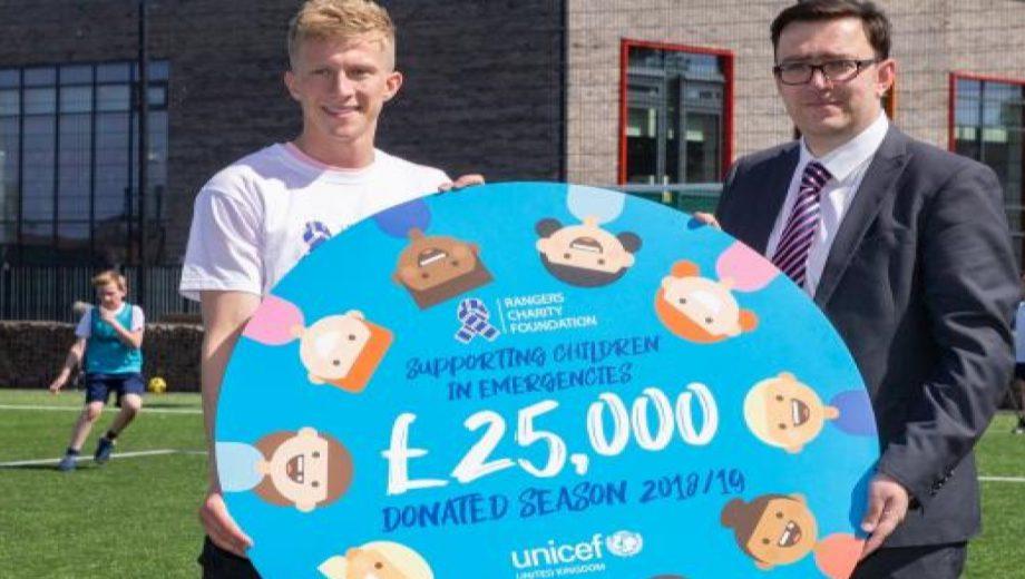 Rangers Charity Foundation Ross McCrorie UNICEF fundraising handover